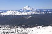 image of crevasse  - Panoramic view from Villarica Volcano in Chile - JPG