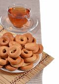 picture of bagel  - Top view of bagels and a tea cup - JPG