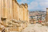 pic of cardo  - The Cardo Maximus street in Jerash ruins Jordan - JPG