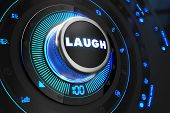 image of prank  - Laugh Controller on Black Control Console with Blue Backlight - JPG