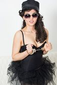 picture of handcuff  - sexy police woman with handcuffs in fashion glasses - JPG
