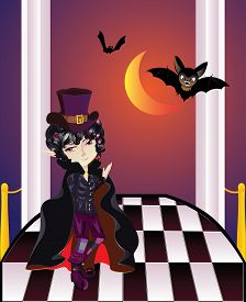 stock photo of vampire bat  - Cartoon vampire with bats on balcony with checkered floor - JPG