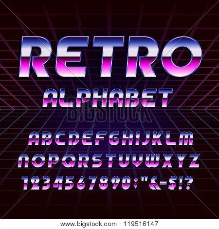 80s Retro Alphabet Vector Font Poster