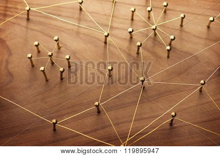 Linking entities. Network, networking, social media, internet communication abstract. A small networ
