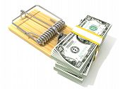 Постер, плакат: Stack of hundreds dollars like bait in wooden mousetrap 3D