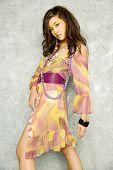 picture of asian woman  - Beautiful asian woman in stylish dress - JPG