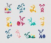 Easter Rabbit Icon Set Design Flat poster