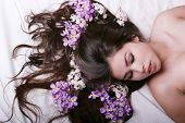 picture of asian woman  - Beautiful asian woman lying on bed - JPG