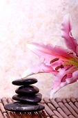 pic of massage therapy  - Massage rocks and pink lily - JPG