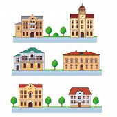 Постер, плакат: Town with colorful houses Seamless pattern Vector cartoon illustration on a green background