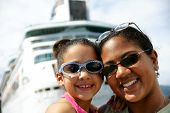 picture of cruise ship  - Family on Cruise Ship - JPG