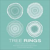 Tree rings background and saw cut tree trunk vector forestry and sawmill. poster