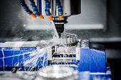 Metalworking CNC milling machine. Cutting metal modern processing technology. poster