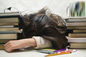 Student tired of doing homework studying with pen asleep on open books, isolated. poster