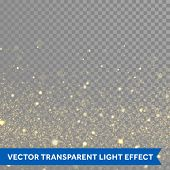 Vector gold glitter particles background effect for luxury greeting rich card. Sparkling texture. St poster