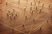 Linking entities. Network, networking, social media, internet communication abstract. A small networ poster