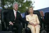 NEW YORK - JUNE 25: Former U.S. President Bill Clinton (L) and his wife, U.S. Senator Hillary Clinto