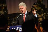 FLUSHING, NY - MARCH 27: Former US President Bill Clinton gestures as he stumps for his wife, Hillar
