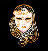 stock photo of masquerade mask  - Venetian female carnival golden mask isolated over black - JPG