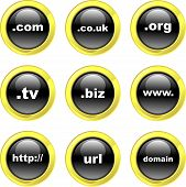 stock photo of internet icon  - set of domain name internet icons on black glossy buttons isolated on white - JPG