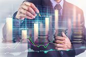 Business Man On Stock Market Financial Trade Indicator Background. Man Analysis Stock Market Financi poster