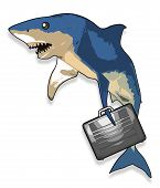 stock photo of loan-shark  - Cartoon like shark holding a business like briefcase - JPG
