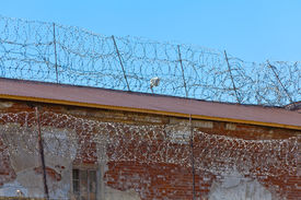 foto of barbed wire fence  - Old brick wall of prison with barbwire background  - JPG