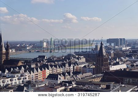 poster of Panoramic Aerial View Over Cologne Historic City Center, Downtown, With Colorful Historical Building