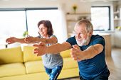 A Senior Couple Indoors At Home, Doing Exercise Indoors. poster
