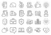Medical Rx Line Icons. Hospital Assistance, Ambulance, Health Food Diet, Laboratory Tubes Icons. Fir poster