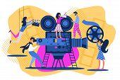 Cartoon People On Movie Set. Action Film Produstion Backstage. Cinema Making Team. Scene Shoot. Ente poster