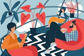 People With Cups In Hand. Room With Creative Interior. Vector Illustration. Free Time. Rest From Wor poster