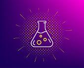 Chemistry Lab Line Icon. Halftone Pattern. Laboratory Flask Sign. Analysis Symbol. Gradient Backgrou poster