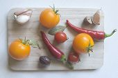 Panorama Banner With Fresh Culinary Herbs And Spices On A Chopping Board With A Pestle And Mortar Su poster