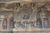 picture of ellora  - Religious images carved into solid rock inside an ancient Hindu cave temple Ellora Caves near aurangabad India. ** Note: Slight graininess, best at smaller sizes - JPG