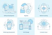 Mobile App Line Icons. Software Development Icon For Web Design. Big Data And Cloud Technology Conce poster