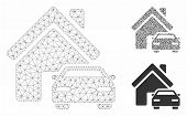 Mesh Property Model With Triangle Mosaic Icon. Wire Frame Triangular Mesh Of Property. Vector Mosaic poster