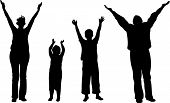Family of four with hands up vector pic.