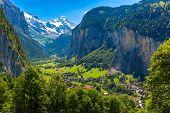 Lauterbrunnen Valley, Village Of Lauterbrunnen, Waterfalls And The Lauterbrunnen Wall In Swiss Alps, poster