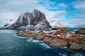 Hamnoy fishing village with red rorbu houses in Norwegian fjord in winter. Lofoten Islands, Norway poster