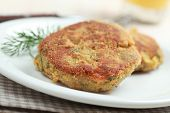 foto of veggie burger  - Two veggie burgers with lentil on a plate - JPG