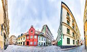 Streets of Riga Old Town with colourful houses, Latvia. 360 degree panoramic montage poster