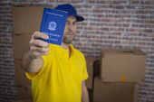Brazilian Mailman Holding Work Book, Brazilian Social Security Document, In A Deposit With A A Lot O poster