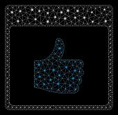 Glossy Mesh Thumb Up Calendar Page With Lightspot Effect. Abstract Illuminated Model Of Thumb Up Cal poster