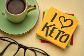 I love keto - diet and lifestyle concept - handwriting on a napkin with a cup of coffee poster