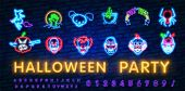 Halloween Neon Sign Vector. Trick Or Treat Halloween Design Template With Ghost And Web For Banner,  poster