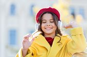 Stereo Sound. Good Vibes Only. Child Girl Autumn Outfit Enjoying Music. Awesome Sound. Girl Kid With poster