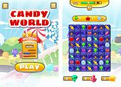 Game Ui Candy World Match 3 Set Game Icons, Buttons, And Elements Interface Game Design Resource Bar poster