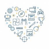 Video Game Outline Vector Icons In Heart Shape. I Love To Play Video Games Concept Creative Illustra poster