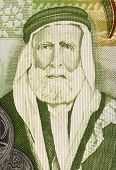 JORDAN - CIRCA 2011: Hussein bin Ali (1854-1931) on 1 Dinar 2011 Banknote from Jordan. Sharif of Mec